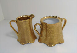 Antique Lhs Bavaria Hutschenreuther Selb Gold Embossed Sugar Bowl And Creamer