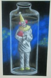 Clown In A Bottle Original Pastel On Paper Prison Art Painting Unsigned