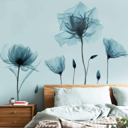 M ACHOOSE Blue Flower Wall Decals Wall Stickers Peel and Stick Removable Decal S