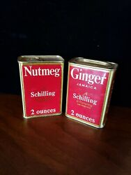 Pair Of Vintage Schilling 2 Ounce Spice Tins Nutmeg Ginger 1930s San Francisco