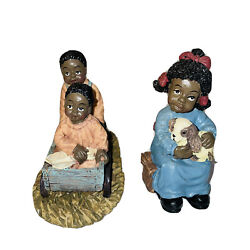 Black Americana Children Figurines Lot 2 Girl Holding Puppy And Boy/girl Playing