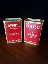 Pair Of Vintage Schilling 2 Ounce Spice Tins Cayenne Sage 1930s San Francisco