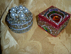 Hand Decorated Trinket Boxes Pair / Metal Round Faux Pearls / Wood Square Beads