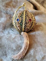 Vintage Beaded Bejeweled Christmas Ornament Exquisite Design Mint 8 Tub2