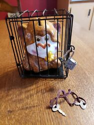 Vintage Andldquomonkey In A Cageandrdquo Coin Bank With Lock And Key