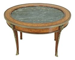 51003ec French 1920s Marble Top Inlaid Coffee Table W. Rams Head