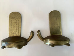Vintage Solid Brass Asian Feng Shui Wealth Turtle Bookends 1950s-1960s Vg Cond.