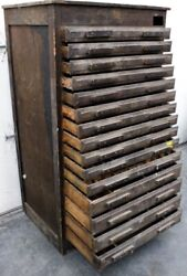 Antique Wood Cabinet Typesetter Craftsman Brown Curio Drawer Tool Collectors