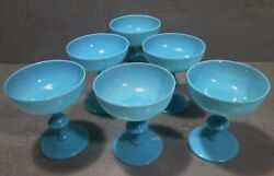New/old 1930and039s Set 6 Blue Opaline Portieux Vallerysthal Sherbet Glasses 2/2