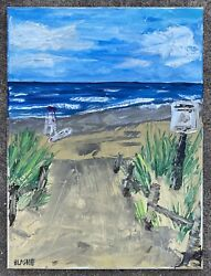 seascape Original Oil Painting on canvas Beach Impressionism Dunes Modern Art $45.00