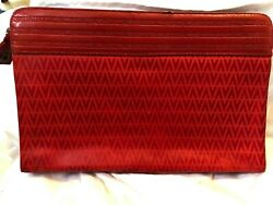 Mario Valentino Vintage Red Clutch Bag Leather $60.00