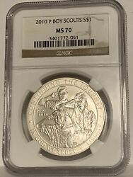 2010 P Boy Scouts Commemorative Silver Dollar Ngc Ms70 Brown Label