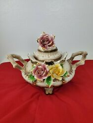 Vintage Pot W/lid 2 Pink And Gold Flowers Center Piece Capodimonte Very Rare Lrg
