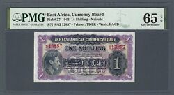 East Africa 1 Shilling 1943 P-27 Pmg 65 Epq Gem Unc 2nd Finest And Very Rare