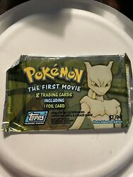 Pokemon The First Movie - 8 Trading Cards, Including 1 Foil Card 1998 Sealed