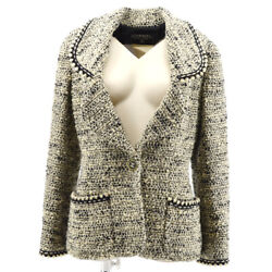 94a 36 Cc Button Single Breasted Long Sleeve Jacket Tweed White 31512