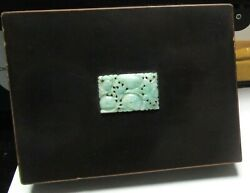 Old Japanese Yamanaka Lacquer Enamel Imperial White And Green Jade Top Humidor Box