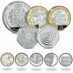 2021 Uk Royal Mint Andpound5 Andpound2 Andpound1 50p Proof Coins John H.g. Wells Sir Walter Scott