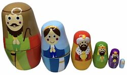 Nesting Nativity Scene - 6 Stackable Wooden Christmas Holiday Dolls - Small