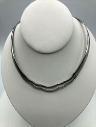 Vintage 925 Sterling Silver Artist Tr-189 Mexico Statement Collar Necklace