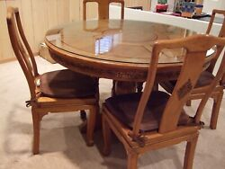 Antique Teak Wood Round Formal Hand Carved Pedestal Dining Table Set 6 Chairs