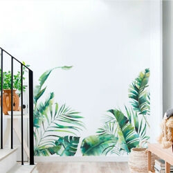 Removable Wall Stickers Mural Art Tropical Plants Green Vinyl Decal Living Room