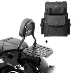Sissy Bar Cl + Tail Bag For Harley Softail Low Rider 18-20 With Rack