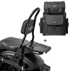 Sissy Bar Csm + Tail Bag For Harley Dyna Low Rider 06-17 With Rack