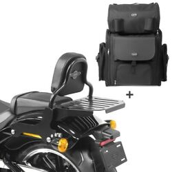Sissy Bar + Tail Bag For Harley Softail Fat Bob / 114 18-21 With Rack Css