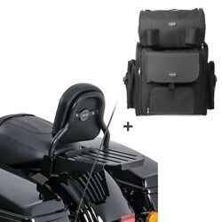 Sissy Bar Cxs + Tail Bag For Harley Touring 14-20 With Rack