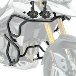 Set Engine Guard+ Auxiliary Lights For Triumph Tiger 900 20-21 Black