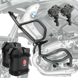 Set Engine Guard + Auxiliary Lights L2 For Bmw R 1200 Gs 08-12 + K3 Black