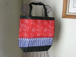 Weaved Canvas Beach Shopping Bag with Nautical Design $8.00