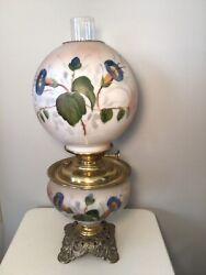 Antique Victorian Gwtw Oil Lamp Electrified Hand Painted Lilies Gorgeous/ Works