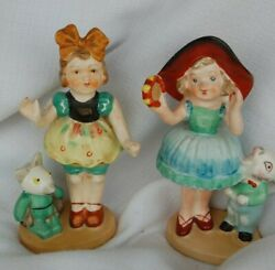 VINTAGE FIGURINES GIRLS WITH RABBIT MADE IN JAPAN GIRLS 6.25quot;