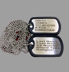 2 Military Dog Tags Personalized Stainless GI Identification w Silencers $6.00