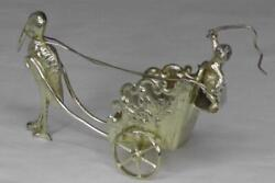 Antique Solid Silver Gilt Cherub On Chariot With Stork Import Marks Dates 1901