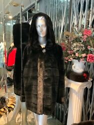 Gorgeous Black Mink Stroller Coat With Attached Hood Xl Beautiful Fur Coat