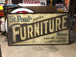 Original Vintage Early Jacob Furniture Store In St Paul Mn Sign In Hanger Patina