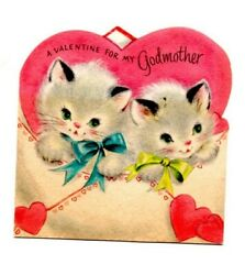 Vintage Valentines Day Card Kittens Cat For a Godmother Pink