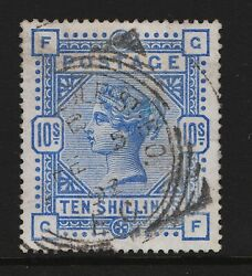 1854 10/- Ultramarine Sg177 Perf 14 Anchor On Blued Paper