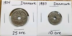 1924 Denmark 25 Ore Coin Km 823 And 1937 10 Ore Coin Km 822andnbspchristian X Hole
