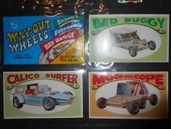 1970 Way Out Wheels Complete Card Set And Sticker Set + Wrapper Topps Nmmt
