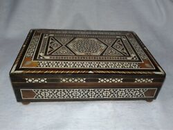 Vintage Mother Of Pearl Inlay Musical Jewelry Box
