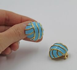 Vintage And Co. Blue Enamel 18k Yellow Gold Dome Clip Earrings