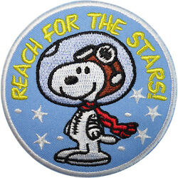 Snoopy Patch Astronaut Space Dog Stars Embroidered Badge Iron Sew On Clothes Bag