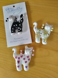 Whimsiclay cat pins