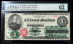 1862 Us 1 Dollar Legal Tender Note Fr 16 Pmg Uncirculated 62 Epq