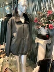 Natural Mink And Leather Reversible Zipper Jacket Unisex Comfortable