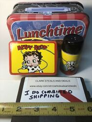 Vintage Salt And Pepper Shakers Betty Boop W/ Tin New In Box Old Stock Ceramic